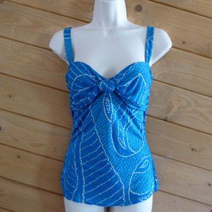 Diane Von Furstenberg Blue Dot Silk Cami Tank Top